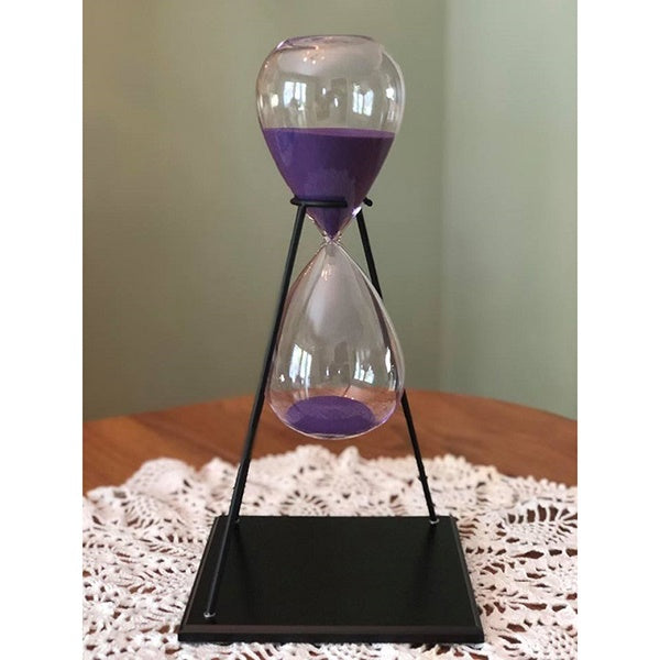 60 Minute Purple Glass Timer on Stand