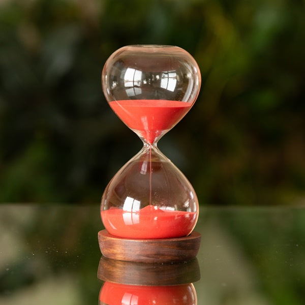 60 Minute Modern Hourglass with Wood Base