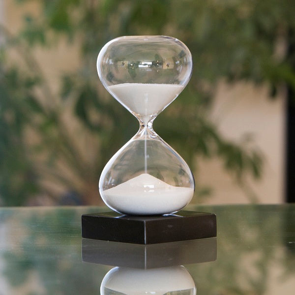 30 Minute Modern Glass Timer -  Black, White or Red Sand