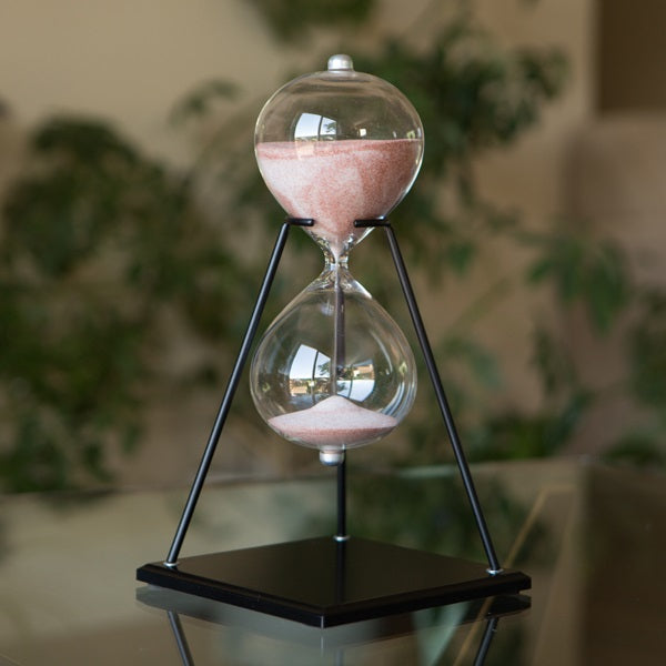 60 Minute Glass Timer on Stand Swirled Sand