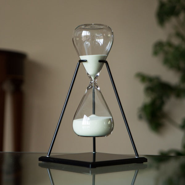 60 Minute Natural or Yellow Triangle Sand Timer in Stand