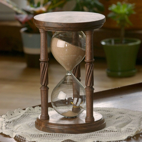 Solid Walnut Hourglass With Spiral Spindles