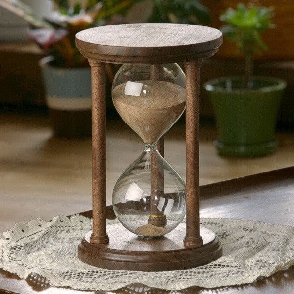 Solid Walnut Hourglass With Smooth Spindles