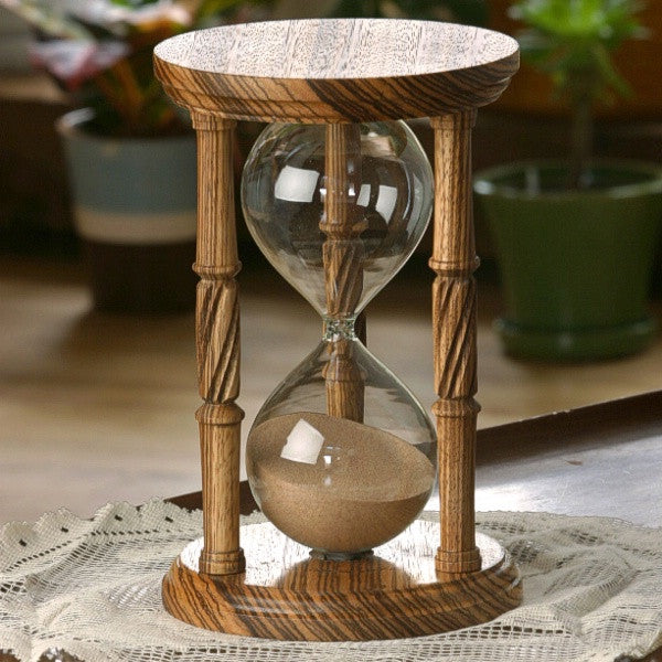 Solid Zebrawood Hourglass With Spiral Spindles