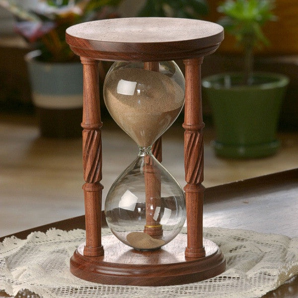 Solid Bubinga Wood Hourglass With Spiral Spindles