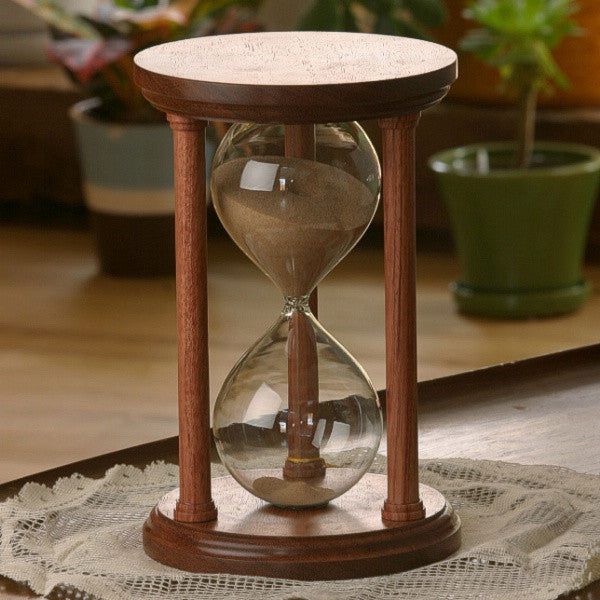 Solid Bubinga Wood Hourglass With Smooth Spindles
