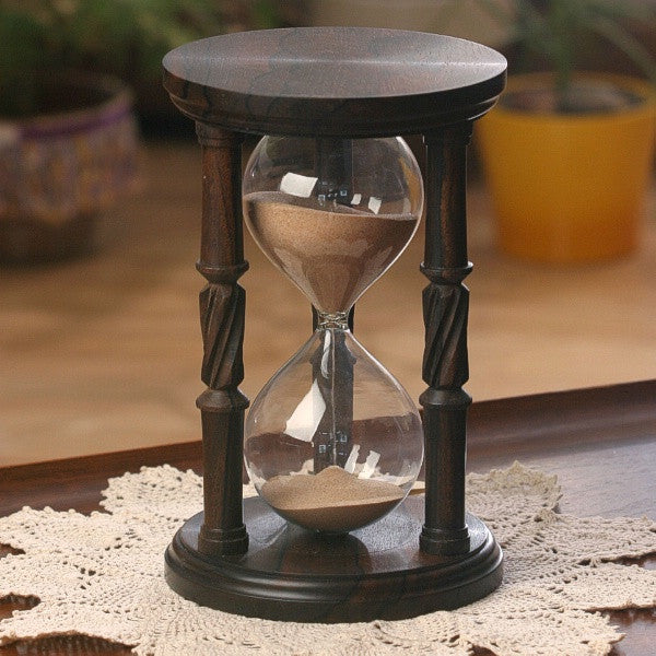 Solid Ziricote Wood Hourglass With Spiral Spindles