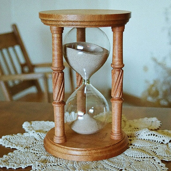 Solid Figured Mahogany Hourglass With Spiral Spindles