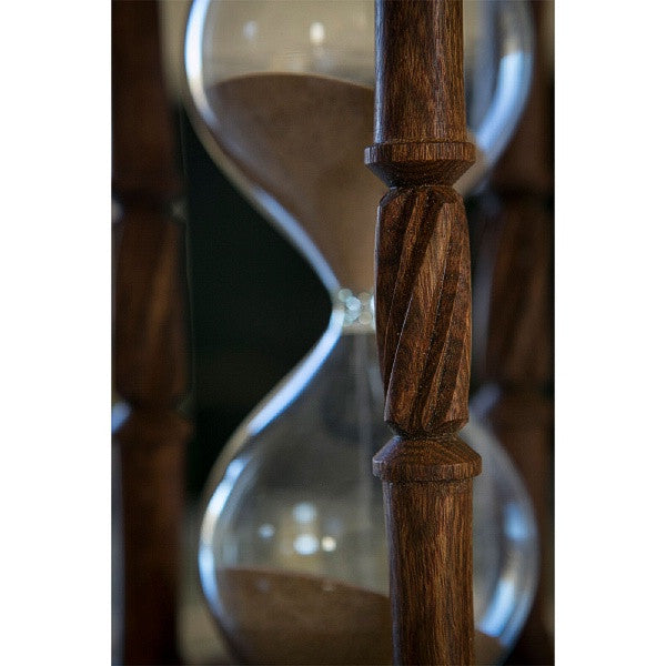 Solid Chechen Wood Hourglass With Spiral Spindles