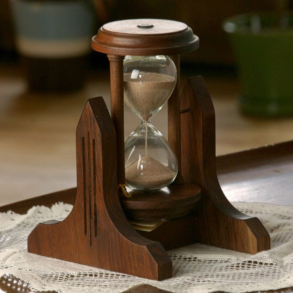 Walnut Decorative Hourglass
