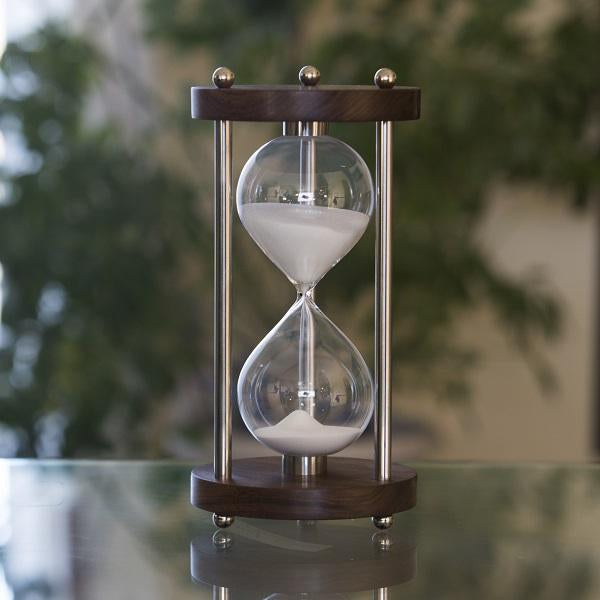50 Minute Walnut  Hourglass with Metal Spindles