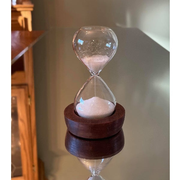 5 Minute Glass Timer in Wood Base