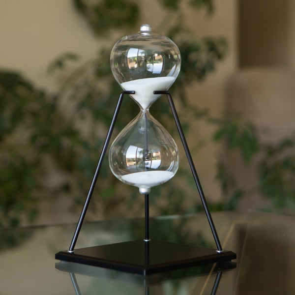 30 Minute Modern Glass Timer on Stand Black