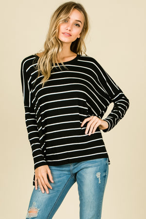 Oh So Classy Black Stripe Top, New Arrivals, BomBom - thirtynine99