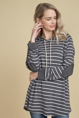 The Casey Charcoal Striped Pullover (Misses), 2018 Tops & Dresses, Emerald - thirtynine99
