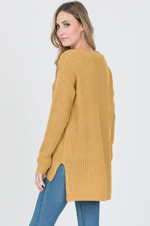 Hanna Mustard Cross Tie Sweater, New Arrivals, Cozy Casual - thirtynine99