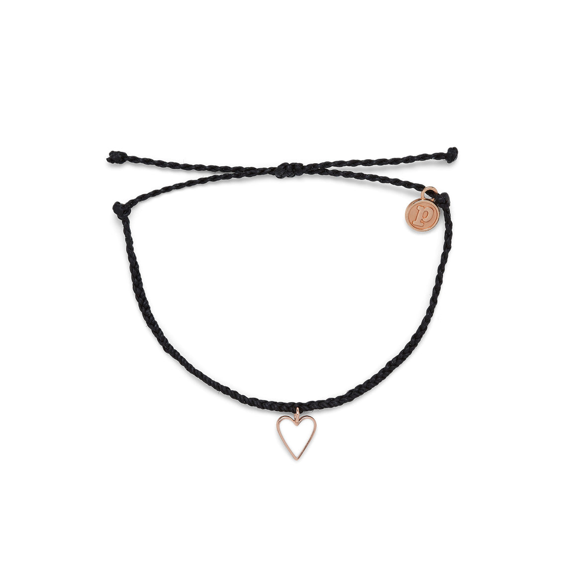 Pura Vida Bracelet - Black Petite Heart Rose Gold
