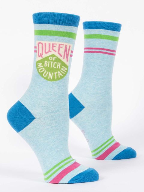 Queen of Bitch Mountain - Women's Crew Socks - Blue Q