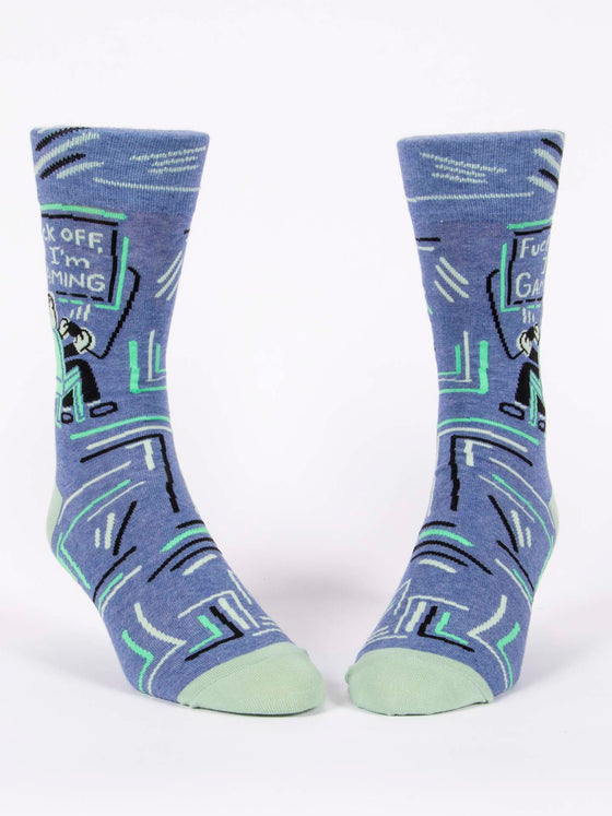 FUCK OFF, I'M GAMING -  MEN'S CREW SOCKS - BLUE Q
