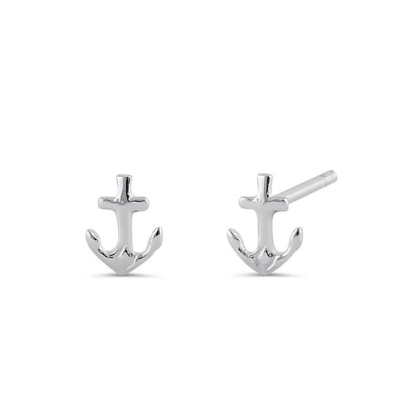 Super Dainty Sterling Silver Anchor Stud Earrings