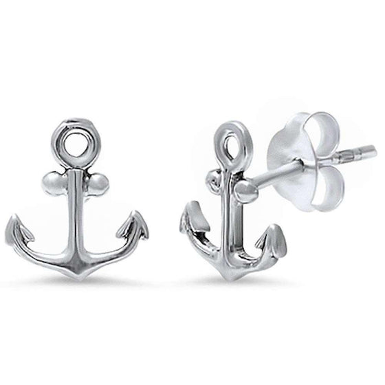 Plain Anchor .925 Sterling Silver Earring