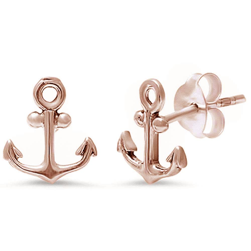 Rose Gold Plated Anchor .925 Sterling Silver Earring