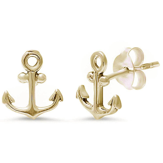 Yellow Gold Plated Anchor .925 Sterling Silver Earring