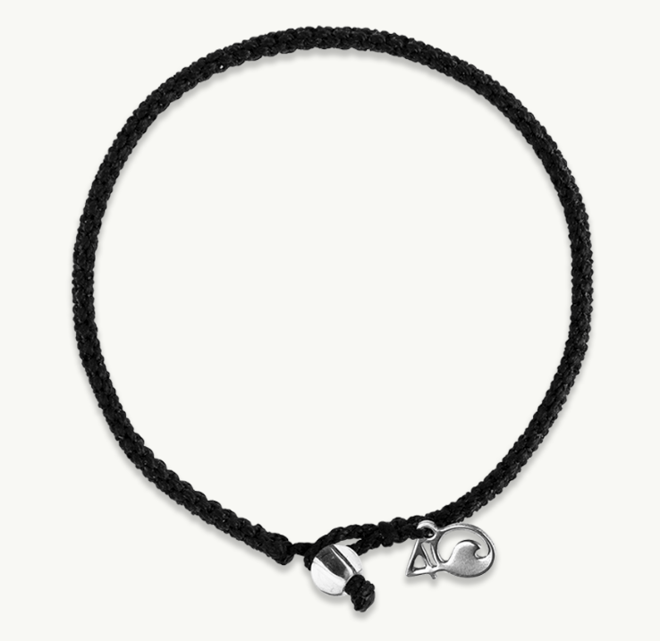 4ocean Shark Braided Bracelet Medium, Black