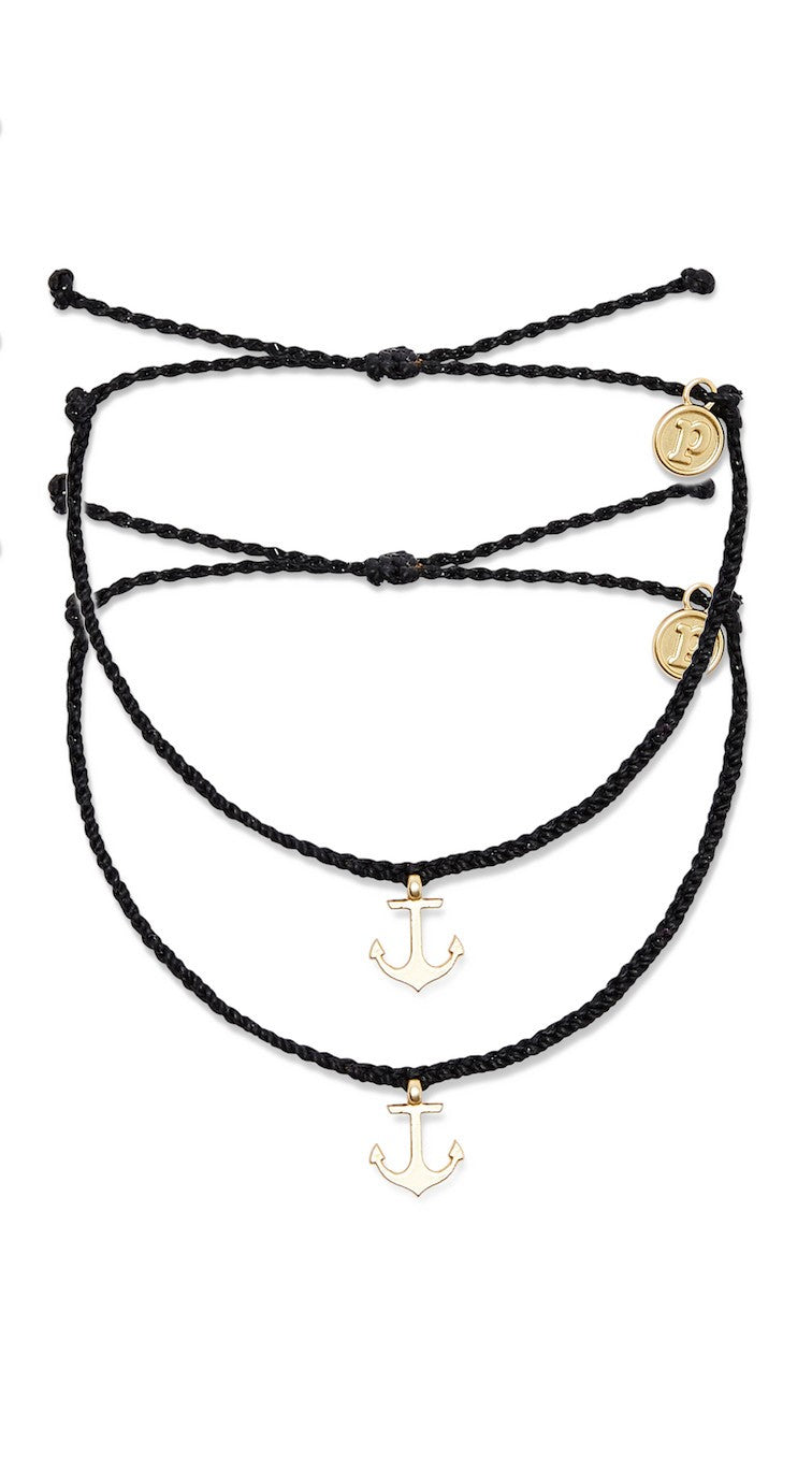 Pura Vida Bracelet - Black Anchor