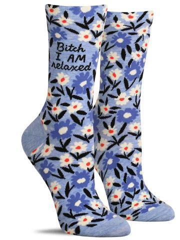 Bitch, I Am Relaxed - Women's Crew Socks - Blue Q