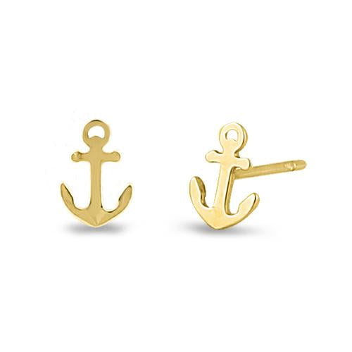 Super Dainty Solid 14K Yellow Gold Anchor Stud Earrings