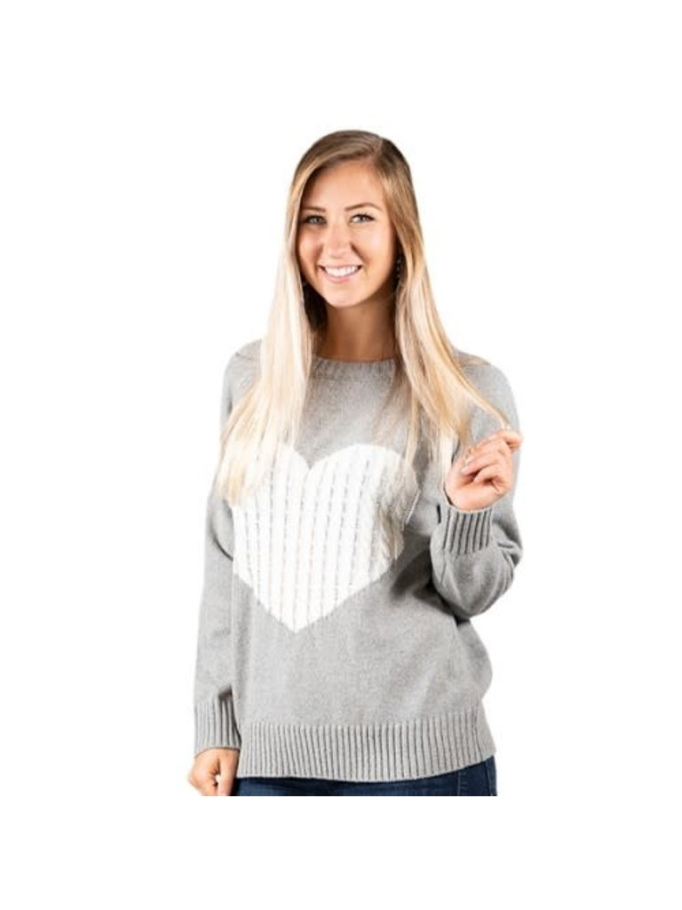 Simply Southern Grey Heart Sweater