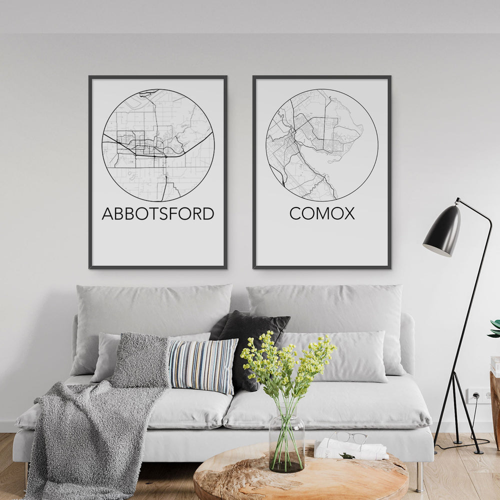 Decorate your home or office with a Abbotsford, BC Minimalist City Map Print from The Neighbourhood Unit