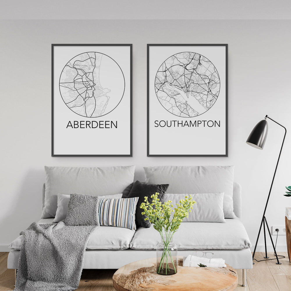 Decorate your home or office with a Aberdeen, Scotland Minimalist City Map Print from The Neighbourhood Unit