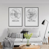 Decorate your home or office with a Abidjan, Ivory Coast Minimalist City Map Print from The Neighbourhood Unit