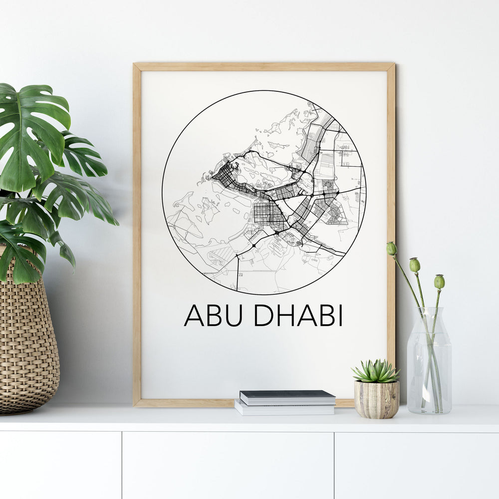 Decorate your home or office with a Abu Dhabi, United Arab Emirates Minimalist City Map Print from The Neighbourhood Unit