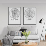 Decorate your home or office with a Adelaide, Australia Minimalist City Map Print from The Neighbourhood Unit