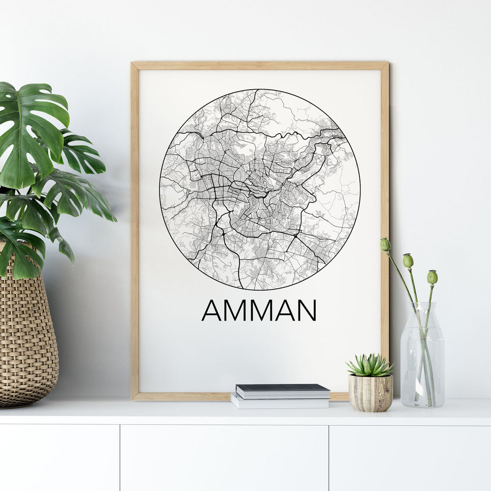 Decorate your home or office with a Amman, Jordan Minimalist City Map Print from The Neighbourhood Unit