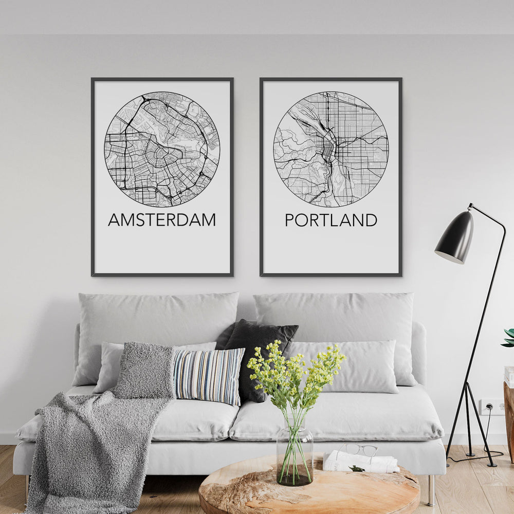 Decorate your home or office with a Amsterdam, Netherlands Minimalist City Map Print from The Neighbourhood Unit