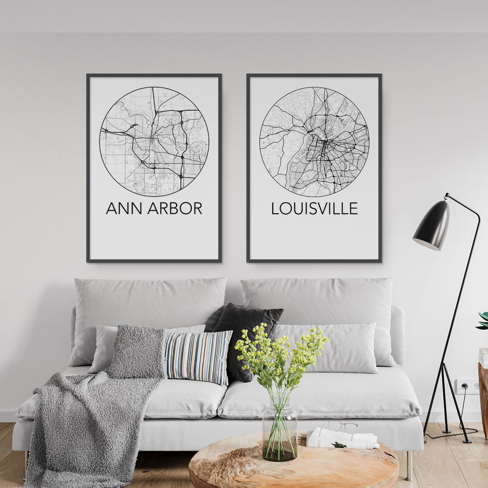 Decorate your home or office with a Ann Arbor, Michigan Minimalist City Map Print from The Neighbourhood Unit