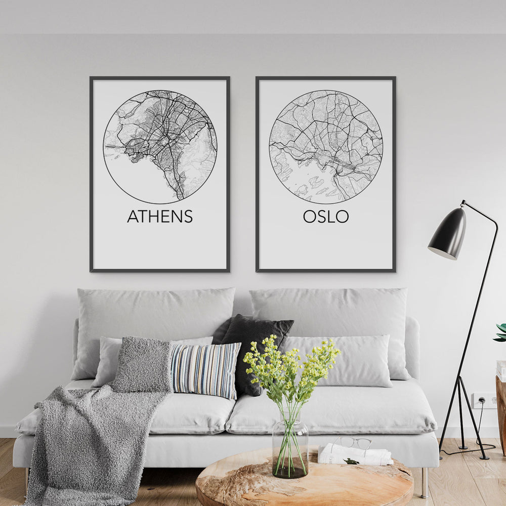 Decorate your home or office with a Athens, Greece Minimalist City Map Print from The Neighbourhood Unit