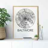 Decorate your home or office with a Baltimore, Maryland Minimalist City Map Print from The Neighbourhood Unit