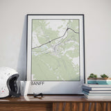 Decorate your home or office with a Banff, Alberta Minimalist City Map Print from The Neighbourhood Unit