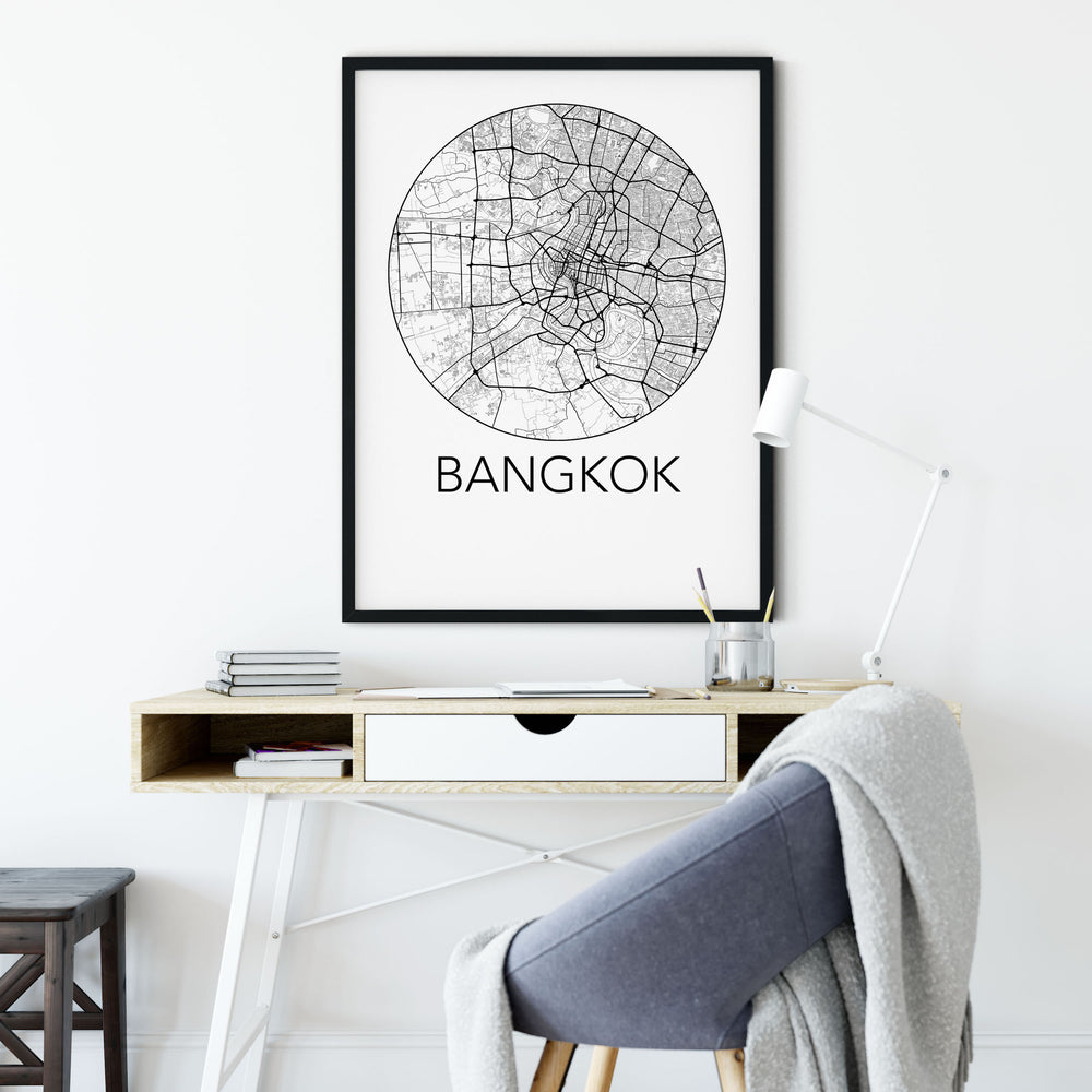 Decorate your home or office with a Bangkok, Thailand Minimalist City Map Print from The Neighbourhood Unit