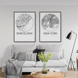 Decorate your home or office with a Barcelona, Spain Minimalist City Map Print from The Neighbourhood Unit