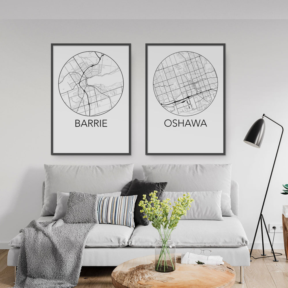 Decorate your home or office with a Barrie, Ontario Minimalist City Map Print from The Neighbourhood Unit
