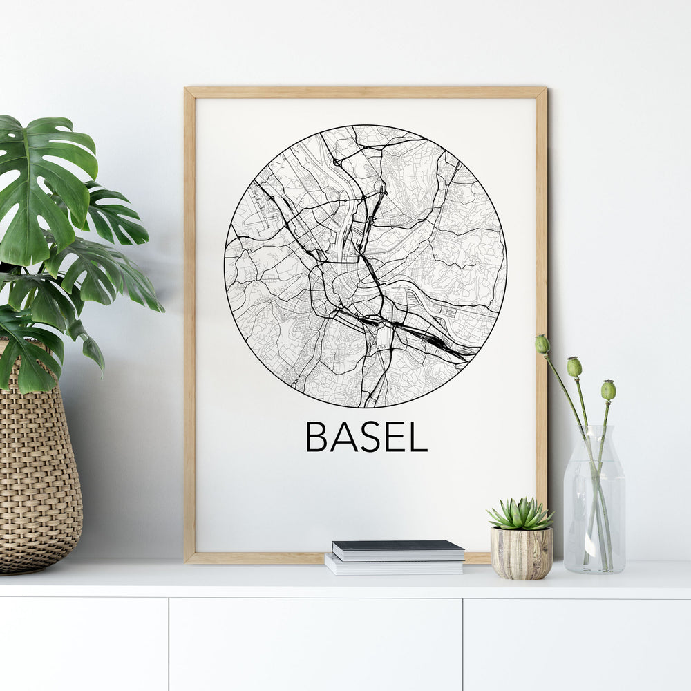 Decorate your home or office with a Basel, Switzerland Minimalist City Map Print from The Neighbourhood Unit