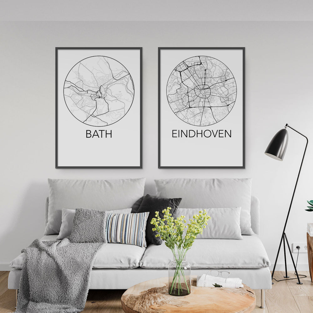 Decorate your home or office with a Bath, England Minimalist City Map Print from The Neighbourhood Unit