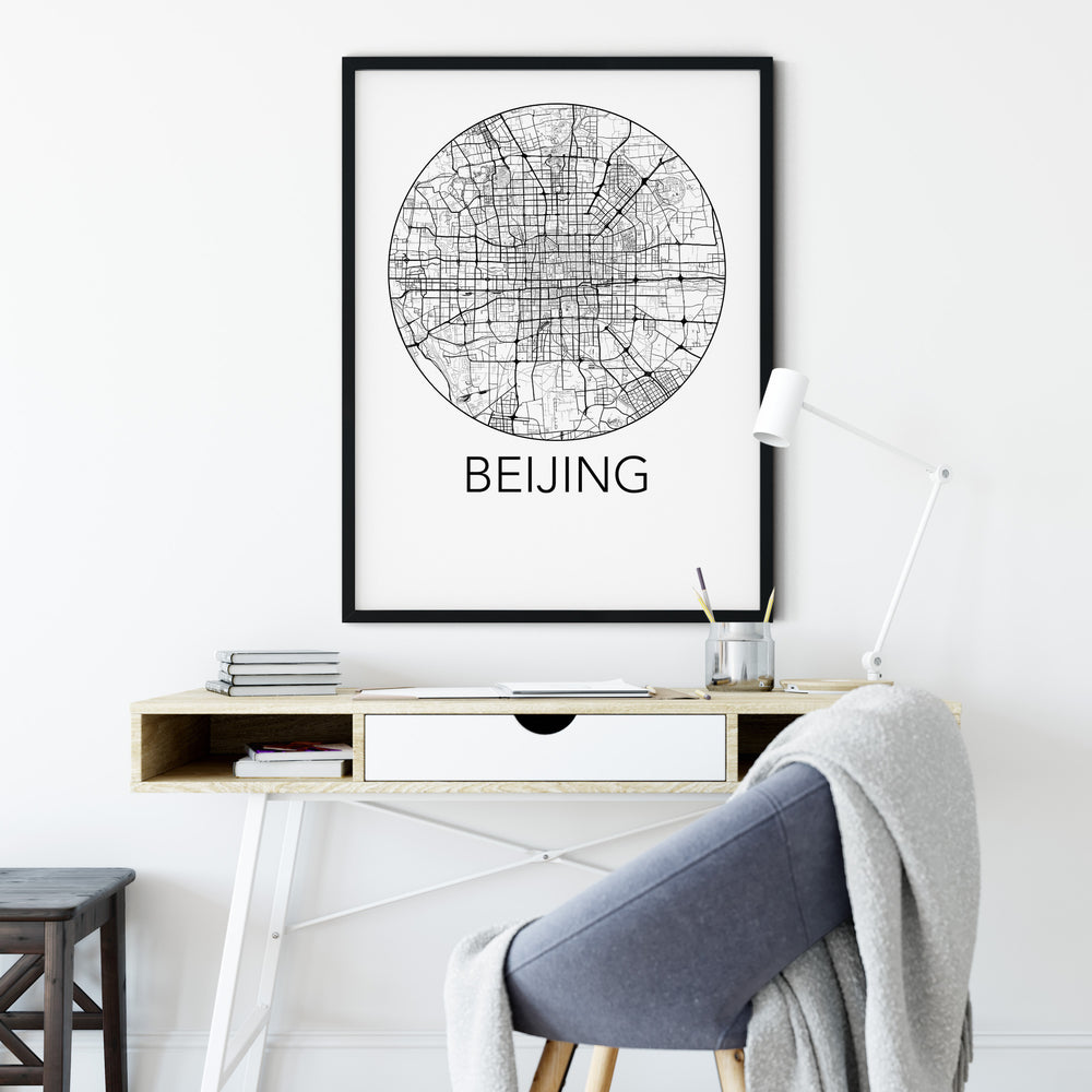 Decorate your home or office with a Beijing, China Minimalist City Map Print from The Neighbourhood Unit
