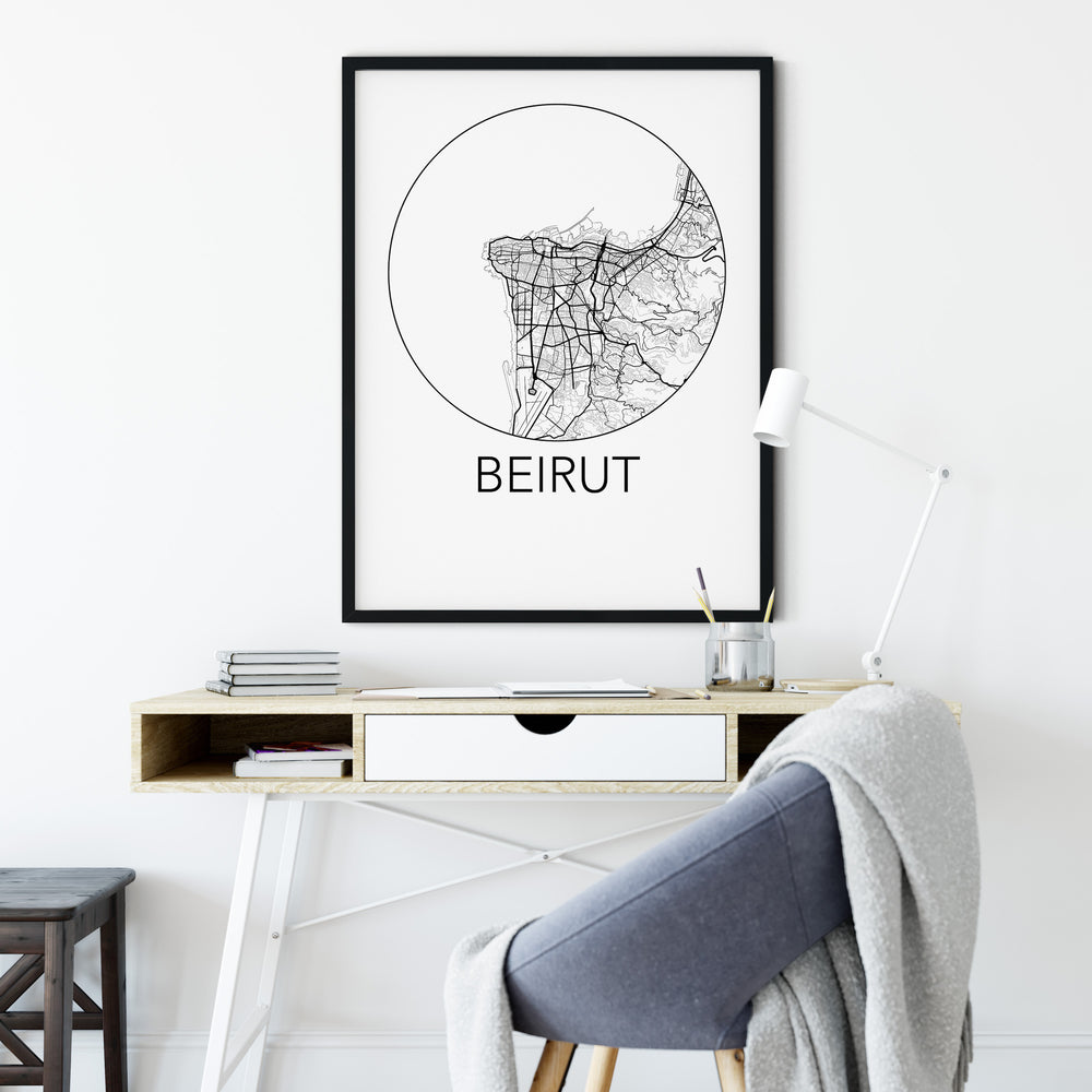 Decorate your home or office with a Beirut, Lebanon Minimalist City Map Print from The Neighbourhood Unit